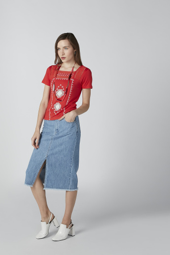 Sustainability Embroidered Top with Lace Detail and Short Sleeves