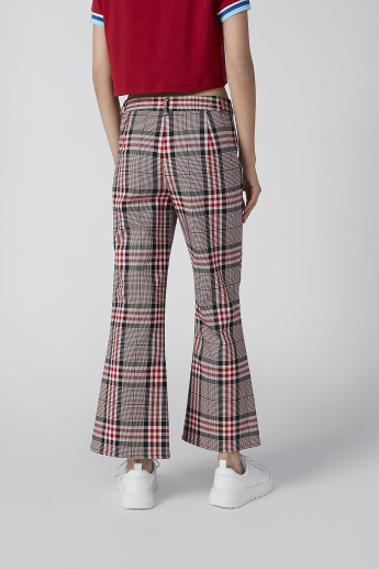 Lee Cooper Chequered Pants in Bootcut with Pocket Detail