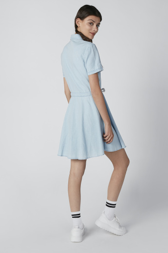 Lee Cooper Mini Shirt Dress with Tie Up Detail