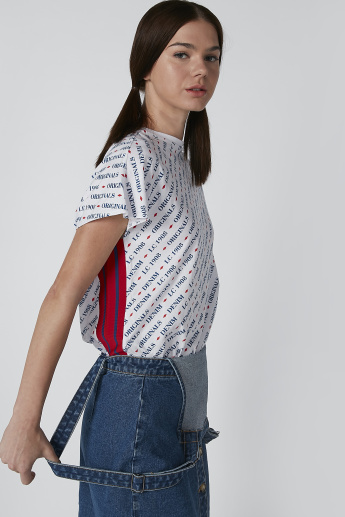 Lee Cooper Printed T-Shirt with Tape Detail and Cap Sleeves