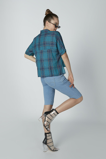 Sustainable Chequered Oversized Shirt with Short Sleeves