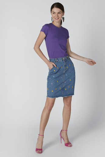 Lee Cooper Embroidered Skirt with Pocket Detail