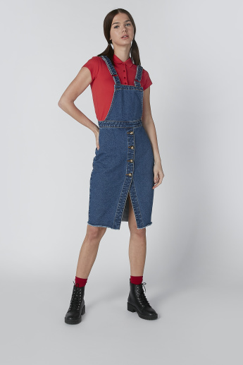 Lee Cooper Midi Pinafore with Button Detail