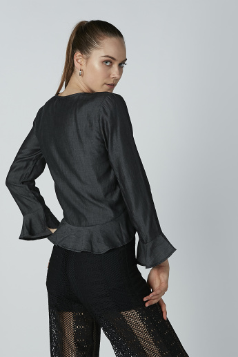 Lee Cooper Textured Top with V-neck and Flounce Sleeves