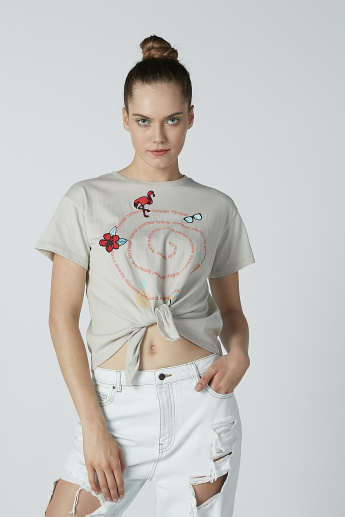 Lee Cooper Printed T-shirt with Short Sleeves and Round Neck
