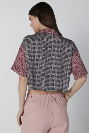 Lee Cooper Printed Crop Shirt with Front Knot Detail