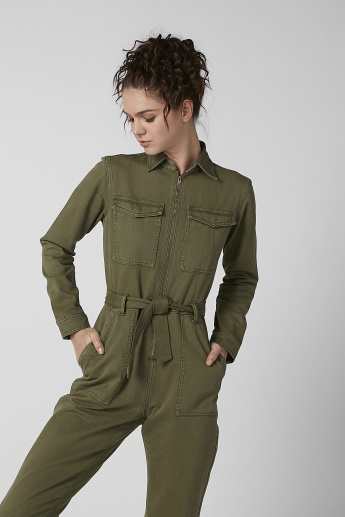 Lee Cooper Plain Jumpsuit with Zip Closure and Tie Ups
