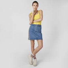 Lee Cooper Denim Skirt with Tape and Pocket Detail