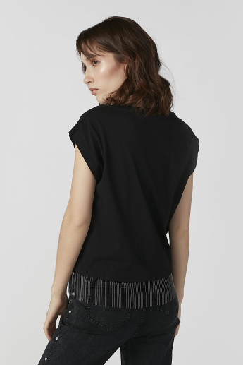Plain Top with Round Neck and Fringes