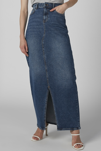 Lee Cooper Maxi Denim Skirt with Front Slit and Pocket Detail