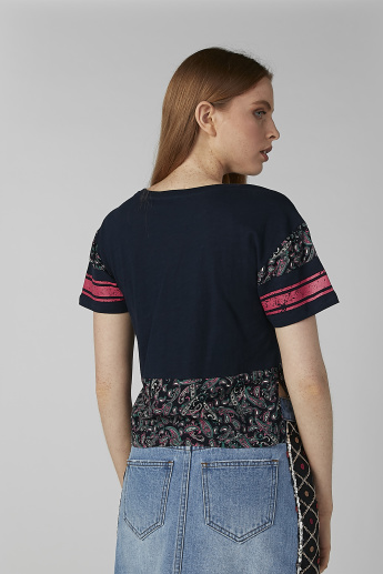 Sustainability Printed Crop Top with Round Neck and High Low Hem