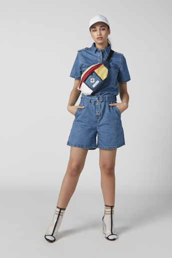 Lee Cooper Denim Playsuit with Pocket Detail and D-Ring Belt