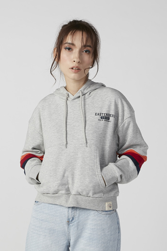 Lee Cooper Printed Hoodie with Long Sleeves and Kangaroo Pockets