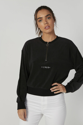 Sustainable Textured Sweatshirt with Long Sleeves and Zip Detail