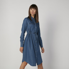 Sustainability Plain Midi Shirt Dress with Long Sleeves and Tie Ups