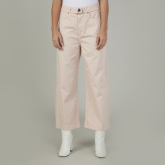 Sustainable Lee Cooper Plain Mid Waist Cropped Jeans with Pockets