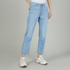Lee Cooper Plain Jeans with Belt Loops and Pocket Detail