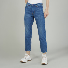 Lee Cooper Plain Cropped Jeans with Belt Loops and Pocket Detail