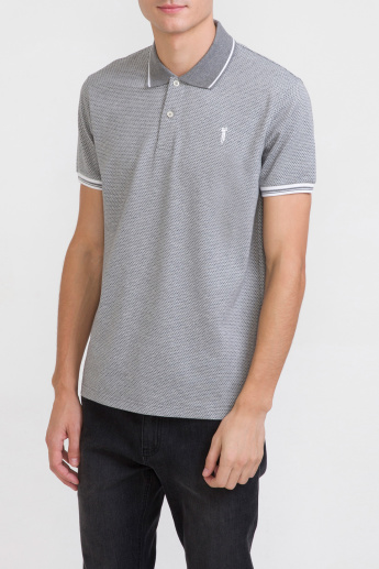 Bossini Textured T-Shirt with Polo Neck and Short Sleeves