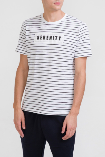 Bossini Striped T-Shirt with Round Neck and Short Sleeves