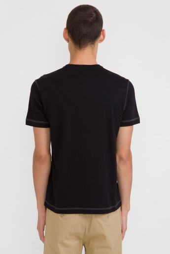 Bossini Henley Neck T-Shirt with Short Sleeves and Stitch Detail
