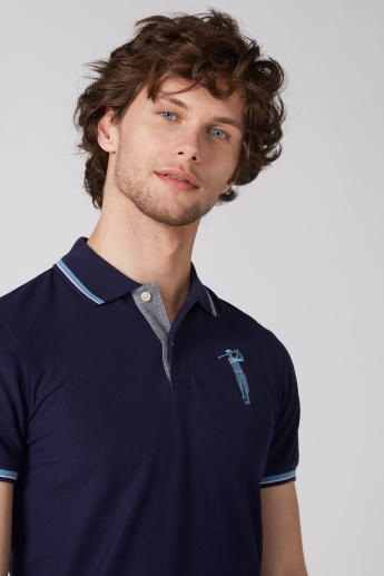 Bossini Embroidered T-Shirt with Polo Neck and Short Sleeves
