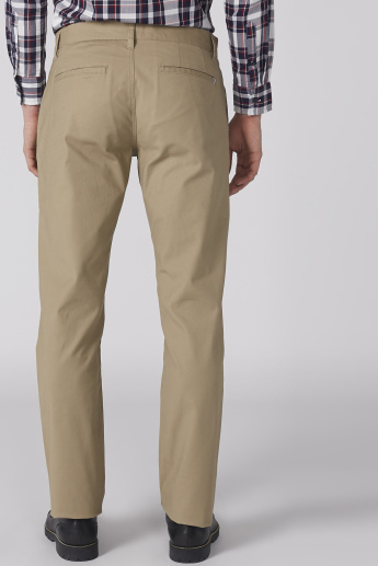 Bossini Full Length Trousers with Button Closure and Pocket Detail