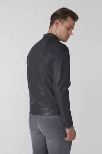 Bossini Long Sleeves Biker Jacket with Zip Closure and Pocket Detail