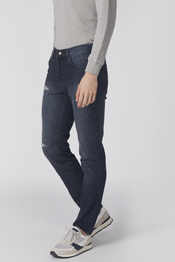 Bossini Distressed Jeans with Button Closure and Pocket Detail