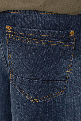 Bossini Denim 3/4 Pants with Button Closure and Pocket Detail