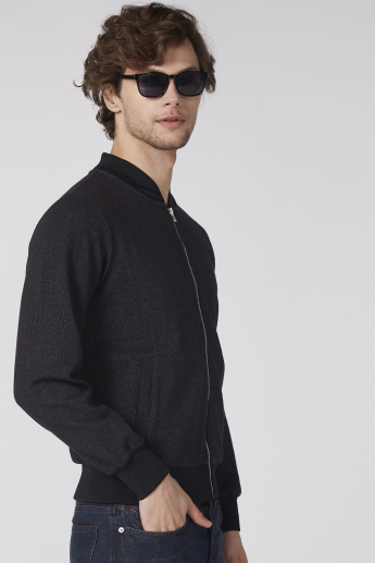 Bossini Textured Bomber Jacket with Pocket Detail and Zip Closure