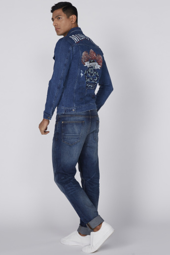Lee Cooper Printed Denim Jacket with Long Sleeves and Complete Placket