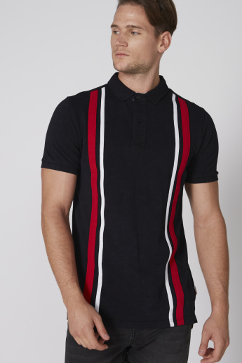 Lee Cooper Striped T-Shirt with Embroidery and Short Sleeves