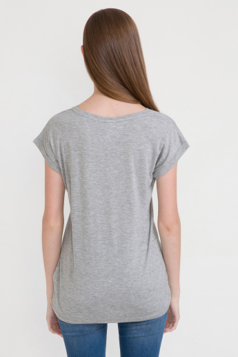 Bossini Printed T-Shirt with Round Neck and Extended Sleeves