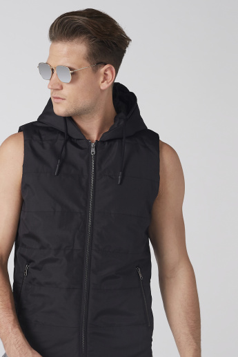 Sleeveless Jacket with Zip Closure and Hood