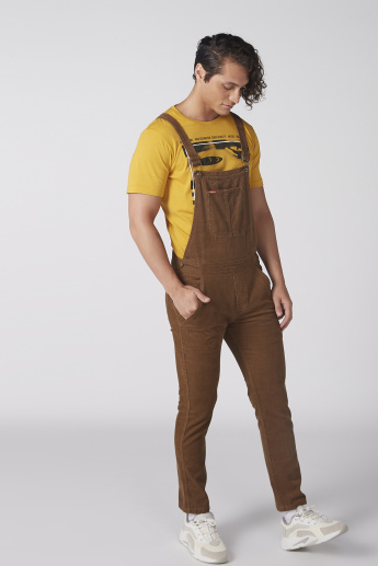 Textured Dungarees with Pocket Detail and Detachable Straps