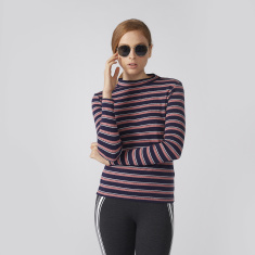 Bossini Striped T-Shirt with High Neck and Long Sleeves