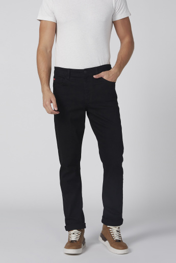 Full Length Jeans in Straight Fit with Button Closure