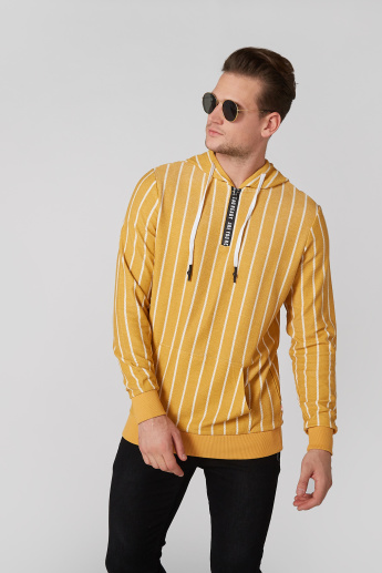 Striped Sweatshirt with Hood and Kangaroo Pockets