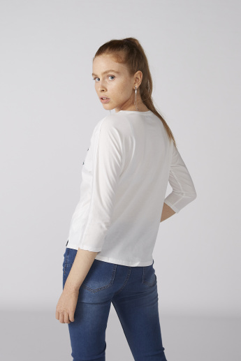 Bossini Embellished T-Shirt with 3/4 Sleeves