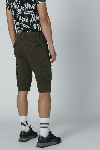 Lee Cooper Solid Shorts with Pocket Detail