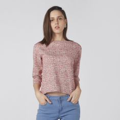 Bossini Textured Top with Boat Neck and 3/4 Sleeves