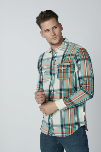 Lee Cooper Chequered Shirt with Long Sleeves and Pocket Detail