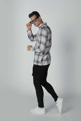 Chequered Shirt with Long Sleeves and Chest Pockets