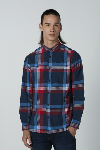 Lee Cooper Chequered Shirt with Long Sleeves and Spread Collar