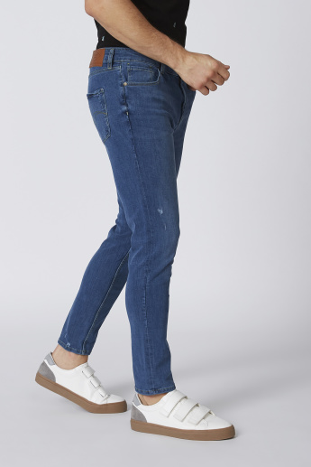 Full Length Skinny Fit Mid-Rise Jeans with Pocket Detail