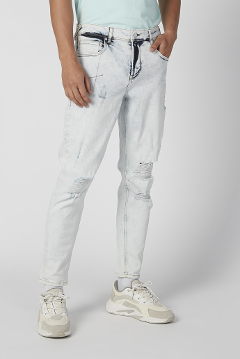 Sustainability Distressed Mid Waist Jeans with Pocket Detail