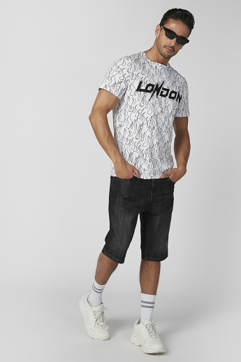 Sustainable Printed T-shirt with Crew Neck and Short Sleeves