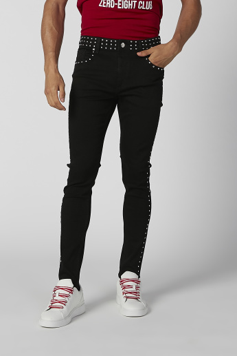 Embellish Skinny Fit Mid Waist Jeans with Zip fly Closure