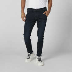 Sustainability Plain Mid-Waist Jeans with Pocket Detail